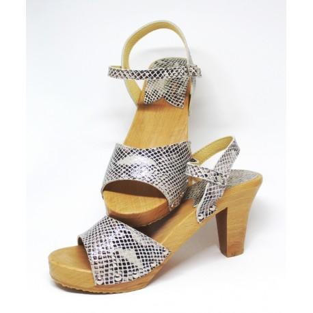 Sandales en bois et cuir python, talon 9 cms