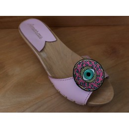 Villerouge Art Sabots Mules en bois EYE OF THE DONUT